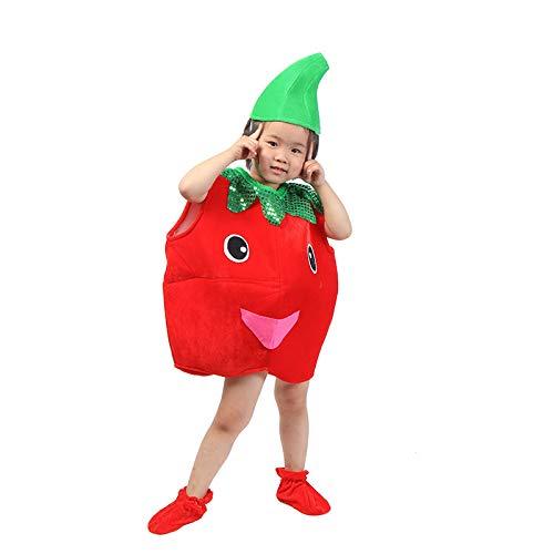 Traje verduras frutas niños Ropa de fiesta de tomate para niños Disfraces para Halloween Cosplay Vacaciones navideñas Niños pequeños Niños Chicas
