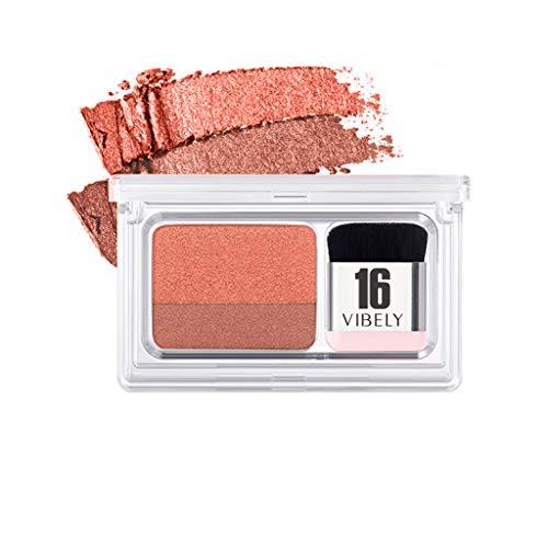 Lonshell Vibely 2 Colors Fard à paupières maquillage Palette d'ombres à paupières Set cosmétique,Paresseux Deux tons Pente Ombre à paupières