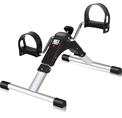 SIMPFIT Portable Stationary Pedal Exerciser for Senior - Folding Peddler Exercise Desk Bike with Electronic Screen for Arm and Leg Workout