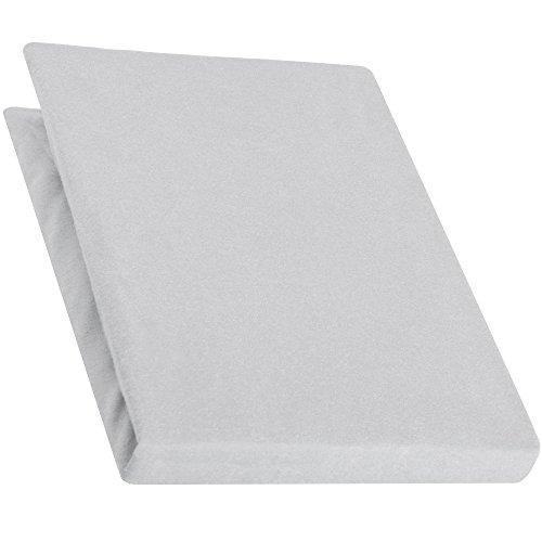 aqua-textiel Pur Topper hoeslaken 140x200-160x200 cm zilvergrijs boxspringbedden topperlaken katoen