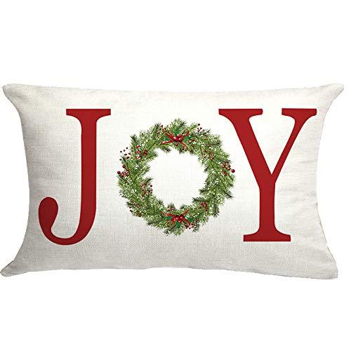 GTEXT Joy with Wreath Throw Pillow Cover Farmhouse Christmas Decor Cuhion Cover Buffalo Check Trees Pillow Cover Farm Decor 20x12 inch Outdoor Pillow Cushion,