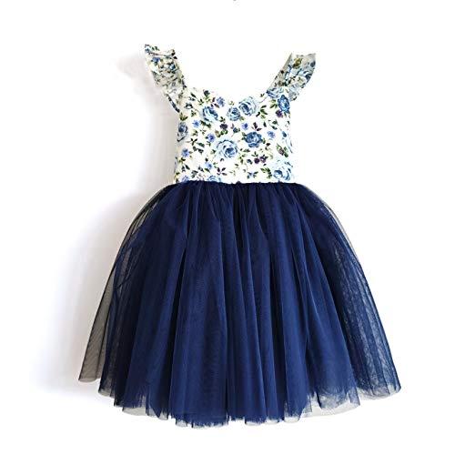 Flofallzique Blue Newborn Baby Tutu Dress Summer Fancy Toddler Floral Outfit Kids Party Dress(1T, Navy)