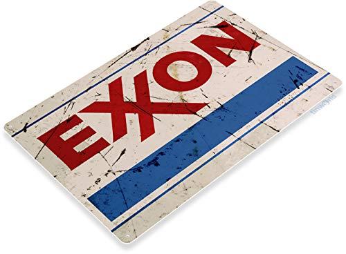 Tinworld Tin Sign Exxon Aged Rustic Oil Gas Station Metal Sign Decor Auto Shop Garage Cave B071