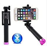 Cell-Stuff Compact Google Pixel 2 XL Pink Extendable [Wireless] Self Portrait Selfie Stick Stick Handheld Monopod with Shutter Controls Button on Handle