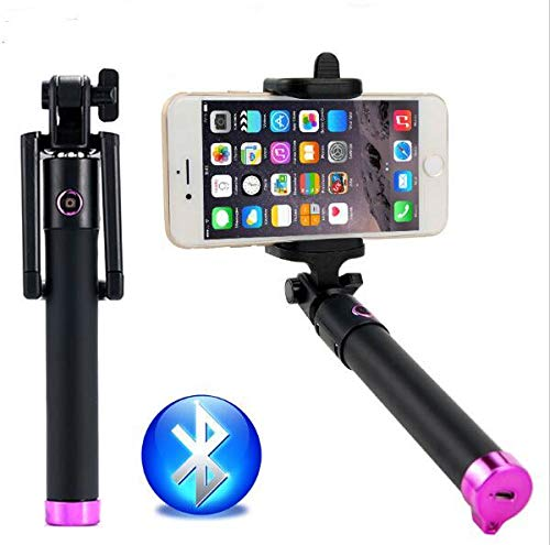 """Cell-Stuff Compact LG Stylo 4"""" Pink Extendable [Bluetooth] Wireless Self Portrait Selfie Stick Stick Handheld Monopod with Shutter Controls Button on Handle"""