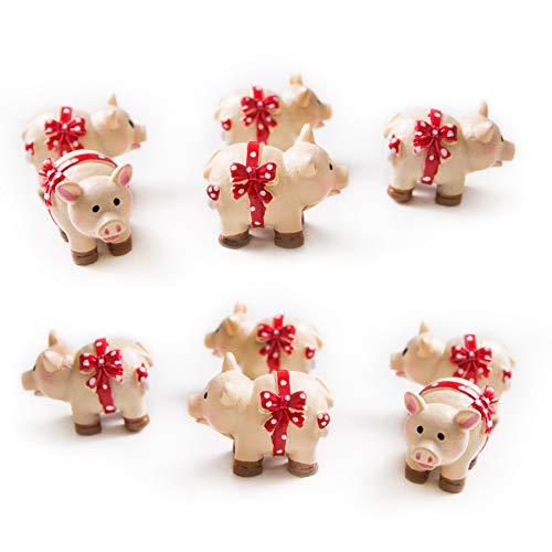 Logbuch-Verlag 10 kleine rosa Glücksschweinchen Glücksbringer Glücksschwein 3 cm Talisman Tisch-Deko Give-Away Silvester Neujahr Mini Figur Schwein