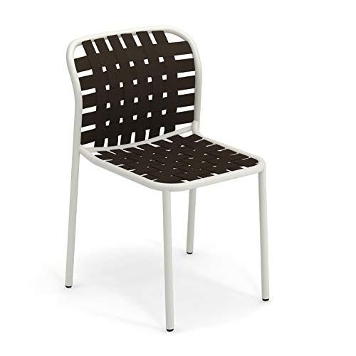 emu Yard Gartenstuhl, weiß, braun Sitz elastische Gurte braun BxHxT 51x81x57cm Gestell weiß
