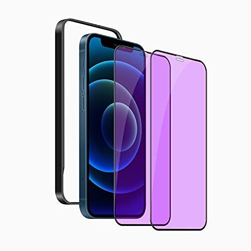2枚セットiPhone12 mini ガラスフィルム ブルーライトカット旭硝子製iPhone12 mini に対応 強化ガラス 液晶保護フィルム 硬度9H・耐衝撃・高透過率・気泡ゼロ・飛散防止処理・眼精疲労軽減・干渉しない 全面保護フィルム ガイド枠付き (アイフォン12mini フィルム)
