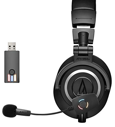 Audio-Technica ATH-M50x Professional Studio Headphone Bundle with Antlion Audio ModMic Wireless Attachable USB Microphone