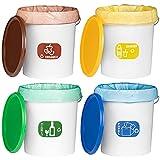 MARKESYSTEM - PACK 4 Cubos de reciclaje de colores + 4 Etiquetas distintivo reciclado para cubos - Contenedores independientes con asa