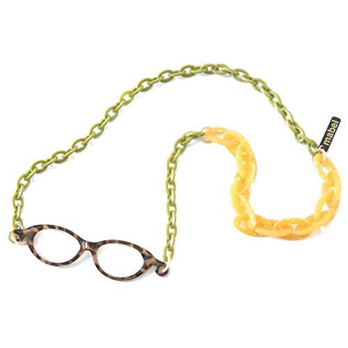 イタリア製 拡大鏡 ネックレス ペンダントルーペ 1.75倍 首掛け 眼鏡 おしゃれ 軽量 べっ甲 グリーン イエロー 緑 黄色