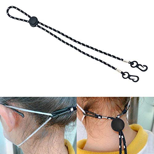 CUEYU Elastic Cord Bands with Adjustable Buckle Stretchy Sewing Ear Loop Anti-Slip Ear Straps for DIY Face Protection Supplies (1PC Black)