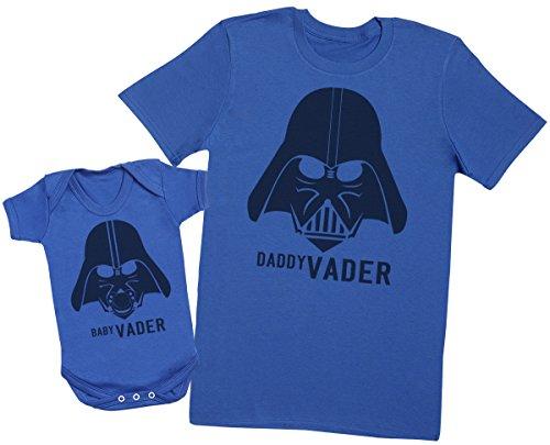 Zarlivia Clothing Baby Vader & Daddy Vader - Ensemble Père Bébé Cadeau - Hommes T-Shirt & Body bébé - Bleu - X-Large & 3-6 Mois