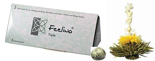 """Boîte de 3 fleures de thé blanc en arôme de litchi, mangue et pêche """"Feelino triple""""- boîte cadeau avec 3 fleurs du thé différents l'emballage sous vide"""