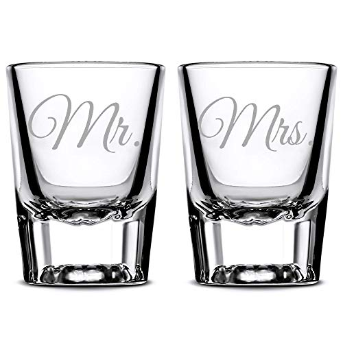 Integrity Bottles Premium Wedding Shot Glasses, Mr. and Mrs, Hand Etched Shot Glasses, Made in USA, Whiskey Gifts, Set of 2, Sand Carved