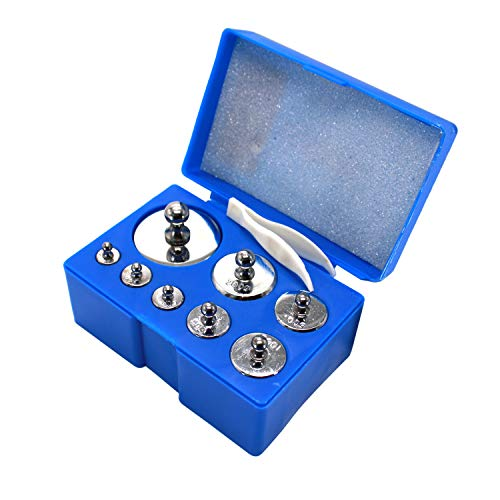 HFS (R) Scale Balance Calibration Weight Set - 10-1000g 8Pc Set with Case (8pcs : 10g,20g,20g,50g,100g,100g,200g,500g) 8pcs is 1000Gram Total