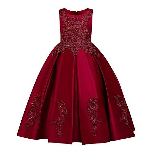 FYMNSI - Vestido largo de noche para niña, con hombros descubiertos, de tul, para bodas, para dama de honor, de fiesta, para primera comunión, de 5 a 14 años 4# Weinrot 7-8 Años