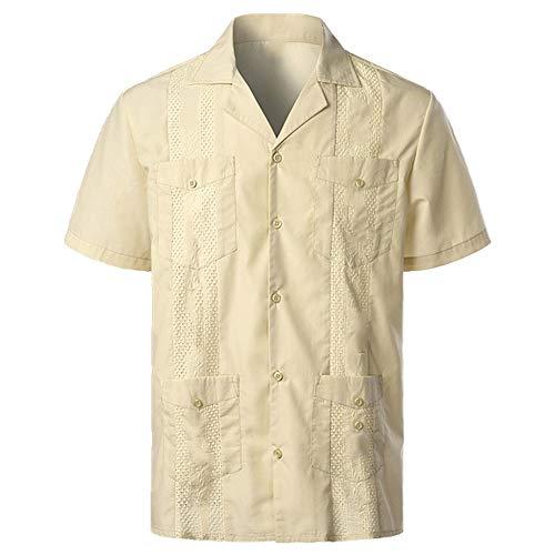 Herren Traditionell Cuban Camp Kragen Guayabera Hemd Kurzarm Bestickt Stil Beach Shirt inkl. Gr. L, gelb