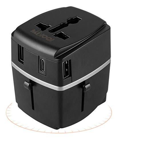 Adaptador de viaje, MiloolCargador 3 Puertos USB Y Tipo-C , Adaptador Enchufe Universal Con Fusible de Corriente 8A y 3A para EU, USA, AU, Ingles, AUS y más de 150 países (negro)