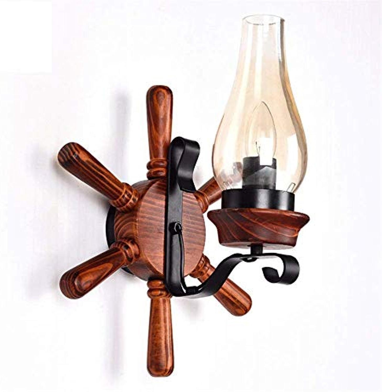 Aussenlampe Wandbeleuchtung Wandlampe Wandleuchte Innen Amerikanischen Retro Antike Massivholz Wandleuchte Led Glas Kerze Einzigen Rudder Persnlichkeit Lounge Bar Kreative Beleuchtung