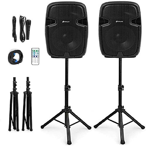 Sonart Portable Wireless 2-Way Powered PA Speaker System Set, 15-Inch 3000W Professional DJ Active + Passive Speaker with Bluetooth, USB/SD Card Input, FM Radio, 2 Speaker Stands, Microphone