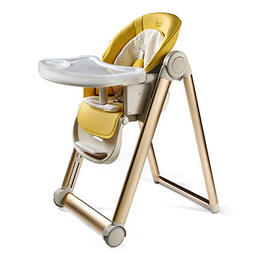 AIMLEIE Chaise Haute Bébé - 2 Roues - Réglable, Pratique et Compacte - Nature,Jaune