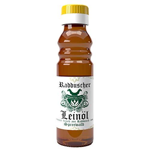 Original Radduscher Leinöl aus dem Spreewald Dorf Raddusch kaltgepresst, ungefiltert 100% naturrein und naturbelassen Leinsamenöl Omega 3 vegan reines Naturprodukt aus dem Spreewald (100 ml)