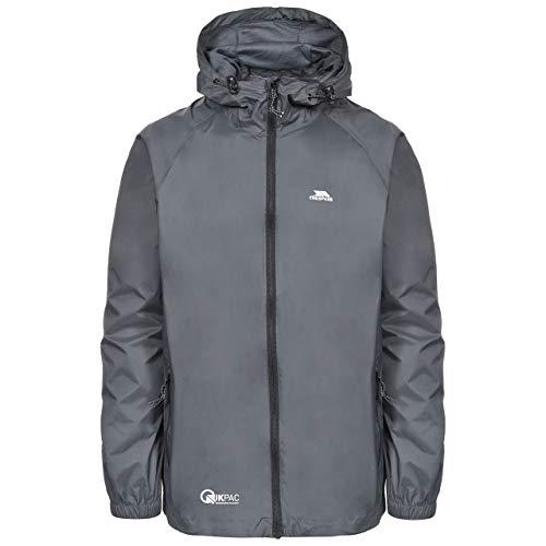 Trespass Unisex Erwachsene Qikpac Jacket Kompakt Zusammenrollbare Wasserdichte Regenjacke, Grau (Flint), L