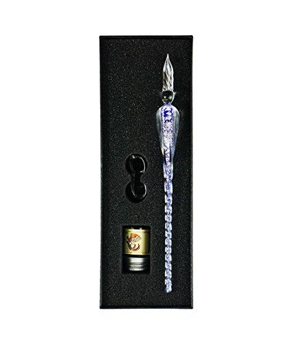 Juego de pluma de cristal para firmar y escribir en caligrafía, ideal como regalo de Navidad, de empresa y de vacaciones, color azul