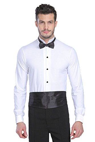 BOZEVON Hommes Mode Danse Latine Costumes Performance Manches Longues Chemise Bodys, Blanc, Tag XL = EU L