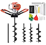 SuxiDi 52cc 2 Stroke Auger Post Hole Digger, 1.8KW Petrol Post Hole Digger Gas Powered with 3 Replacement Drill Bits(5', 6', 8')