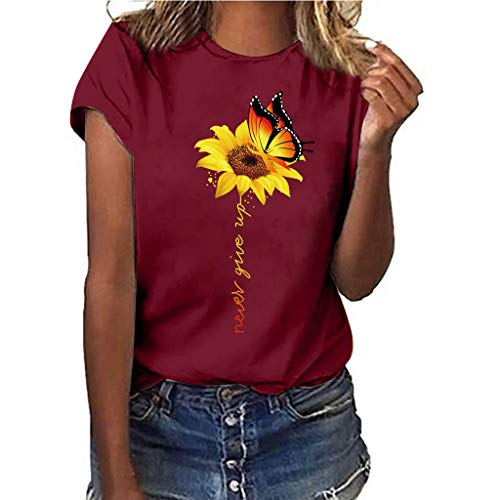 Women T-Shirt Casual Summer Short Sleeve Tee Sunflower Print Loose Fit Blouse Tops (S, Red)