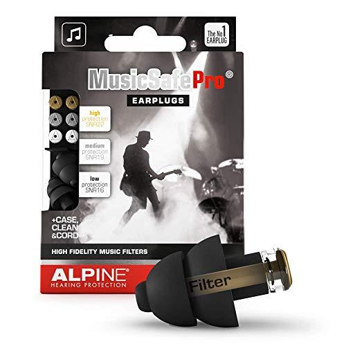 Alpine MusicSafe Pro Gehörschutz Ohrstöpsel für Musiker - Werte dein Musikerlebnis auf ohne Hörschäden zu riskieren - Drei austauschbare Filterstufen - Hypoallergenes und Wiederverwendbar - Schwarz