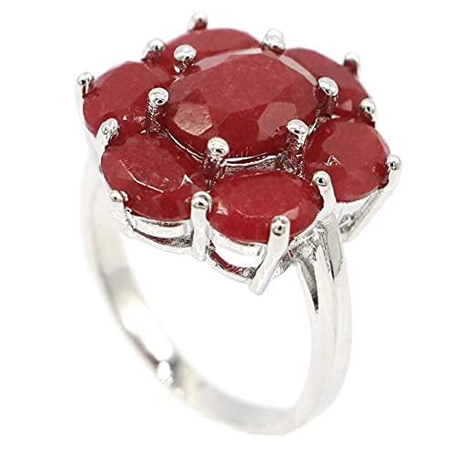 20x17mm Real Verde Esmeralda Real Red Ruby 925 Anillo de plata esterlina para mujer Moda fina8Red