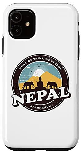 iPhone 11 Nepal Kathmandu Buddha Statue Elephants Vintage Gift Case