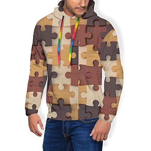Zachary Sherman puzzel herensweatshirt met capuchon en sweatshirt met fluweel gevoerd met capuchon en casual overhemd met tas