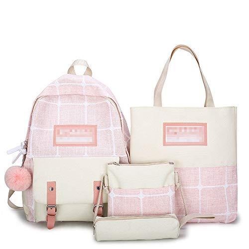 FJX 4pcs Mochila bolso Bolsas de hombro para Niña, Niño, 5 Colores Mochila Vans/rosado