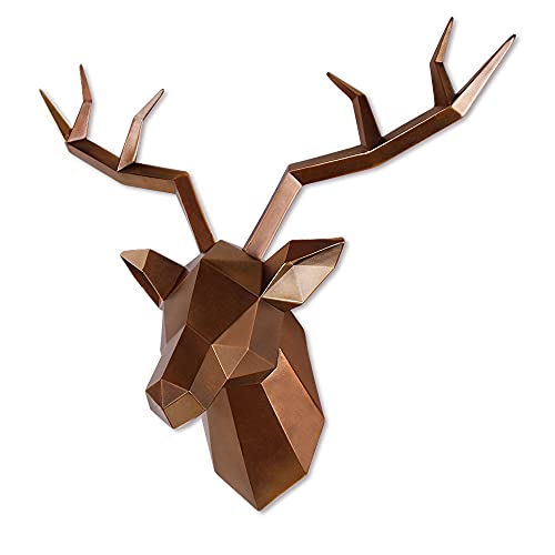Keygift Deer Head Wall Decor Geometrical Antique Copper Deer Antlers Wall Sculpture Faux Taxidermy Resin Wall Animal Head 19x7x17 Inches