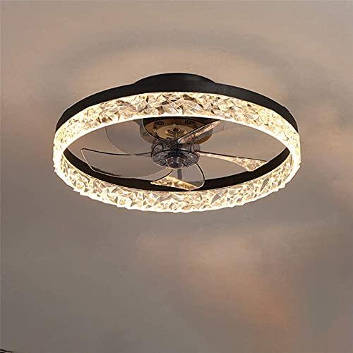 XUNMAIFLB Ventilador de Techo con Iluminación, 30W LED Luz Techo, Velocidad Viento Regulable, Candelabro de Ventilador Silencioso para Sala de Estar, Dormitorio, Oficina, Black
