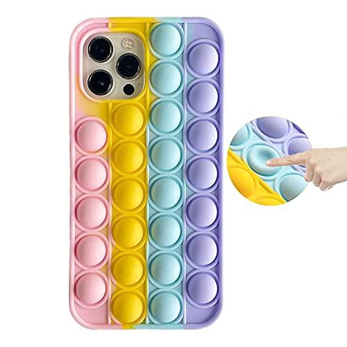 KABIOU - Custodia in silicone per iPhone 12 11 Pro Max 12mini 5G X XS MAX XR 8 7 6 Plus 5s 5 SE 2016 2020 Bubble Ansia Stress Reliever Giocattoli Cover per iPhone 5/5s/SE 2016