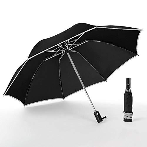 Sombrillas Terraza Paraguas Automático Plegable De Tira Reflectante para Mujer Protección Anti-UV A Prueba De Lluvia Sombrilla Lluvia Sombrillas Negro