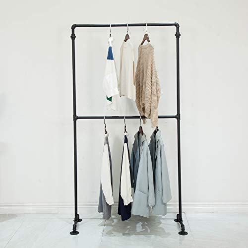 Industrial Pipe Clothing Rack 2-Tier Commercial Garment Rack Standing Display Shelves Closet Organizer 748 inch Black