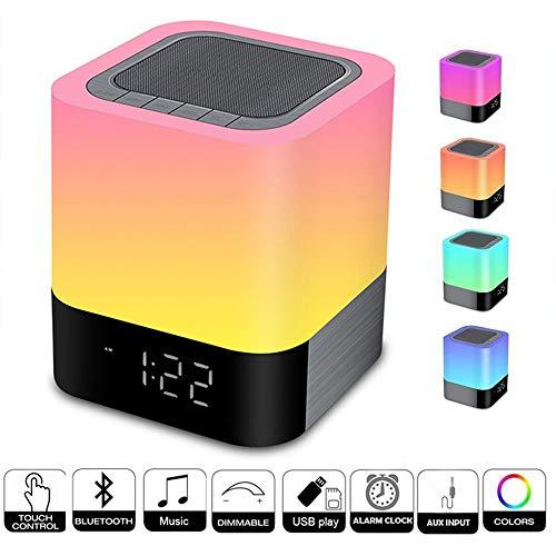 TFACR Nachttischlampe Wecker, Drahtloser Bluetooth-Lautsprecher, Dimmbares warmes Licht mit 7 Farben/UKW-Radio, Frauen/Männer/Jungen/Mädchen
