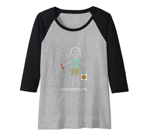 Mujer Tiro con arco para mujer divertido, regalo de arquero de Camiseta Manga Raglan
