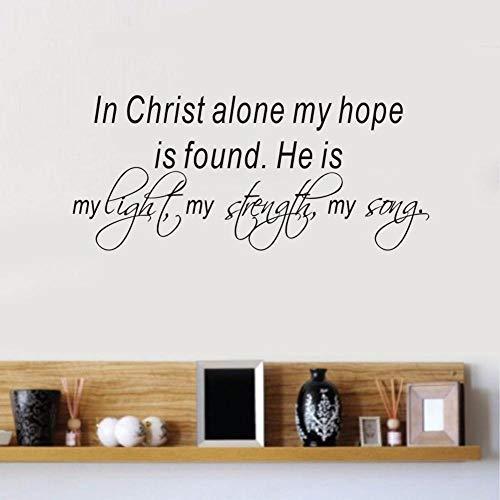 Wandaufkleber 58x25 cm Bibelverse Wandtattoo Zitat in Christus allein Meine Hoffnung ist gefunden Vinyl Aufkleber Home Schlafzimmer Aufkleber Innenarchitektur
