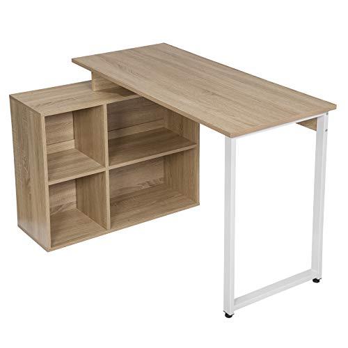 EUGAD 0078ZZ Schreibtische Computertisch PC-Tisch Bürotisch Arbeitstisch mit Ablagen Holz Hell Eiche 116x75x80cm
