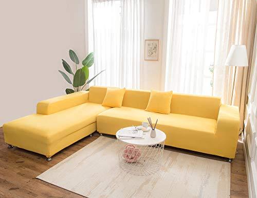 DYWLQ Funda elástica para sofá con estampado de 2 piezas, funda elástica de poliéster y elastano, funda universal ajustable para sofá (190-230 cm) + (195-300 cm), color amarillo