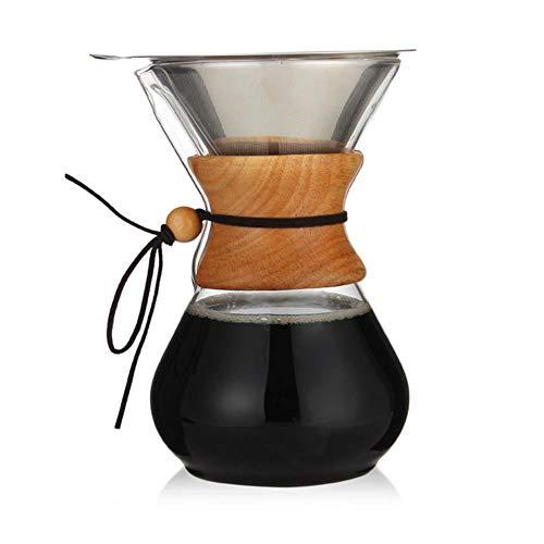 RANJN 400-800 ml klassieke glazen koffiekan houten handvat hittebestendig overgieten koffiezetapparaat handmatig koffiezetapparaat