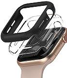Ringke Slim Compatibile con Cover Apple Watch Serie 6/SE/5/4 40mm, Custodia PC Antigraffio (2 Pezzi) - Clear & Black