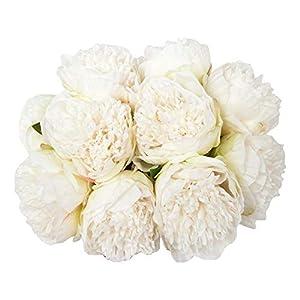 Silk Flower Arrangements U'Artlines 2Bouquet 10Heads Artificial Peony Silk Flower Leaf Home Office Wedding Party Festival Bar Decor (White)